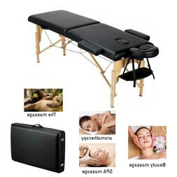"""Black 84"""" 2-Fold Portable Massage Table Chair Bed Spa Facial"""