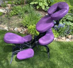 Earthlite Avila Portable Massage Chair Purple & Black W/Roll