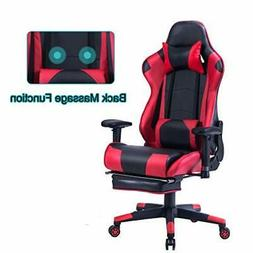 back massage gaming chair with footrest pc
