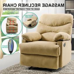 Beige Microfiber Massage Recliner Chair Heated Vibrating Lou