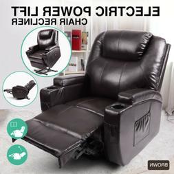 Oversize Leather Massage Chair Recliner 360°Heat Rocking Vi