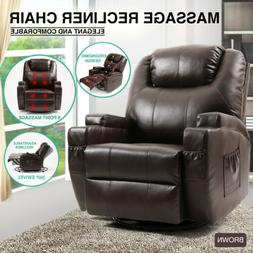 Brown Massage Recliner Chair Lounge Leather Sofa Vibrate Hea