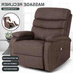Chocolate Lazy Man Massage Recliner Chair Zero Gravity Full