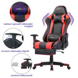 VANCELComputer Gaming Chair with Footrest  Lumbar Massage Su