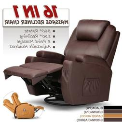 Electric Recliner Massage Chair Sofa PU Leather Arm Lounge H