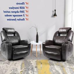 Electric Rocker Recliner with Massage Chair Sofa USB+Heat Sw