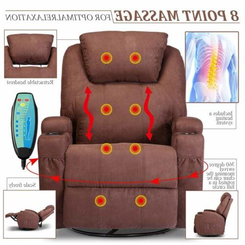 Massage Chair Vibrating Lounge Swivel with Remote