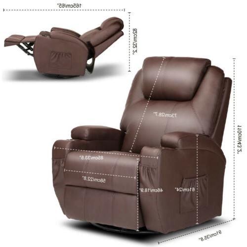 Massage Recliner Chair Vibrating Ergonomic Swivel Remote