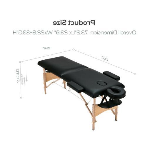 """84""""L Portable Foldable Table Facial SPA W/Stool Swivel Black"""