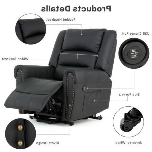 Black Massage Reclining Vibrating Ergonomic Sofa