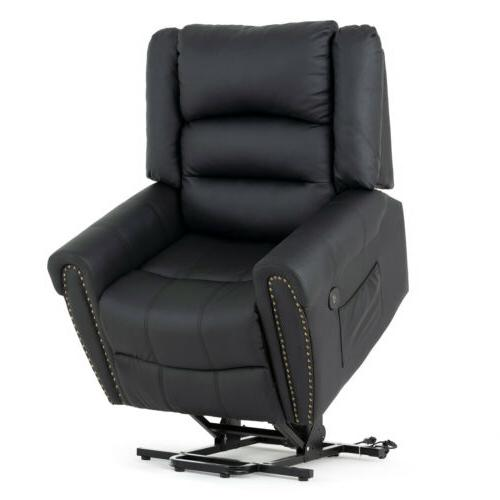 Massage Reclining Lift Chair Leather Vibrating Heated Ergono
