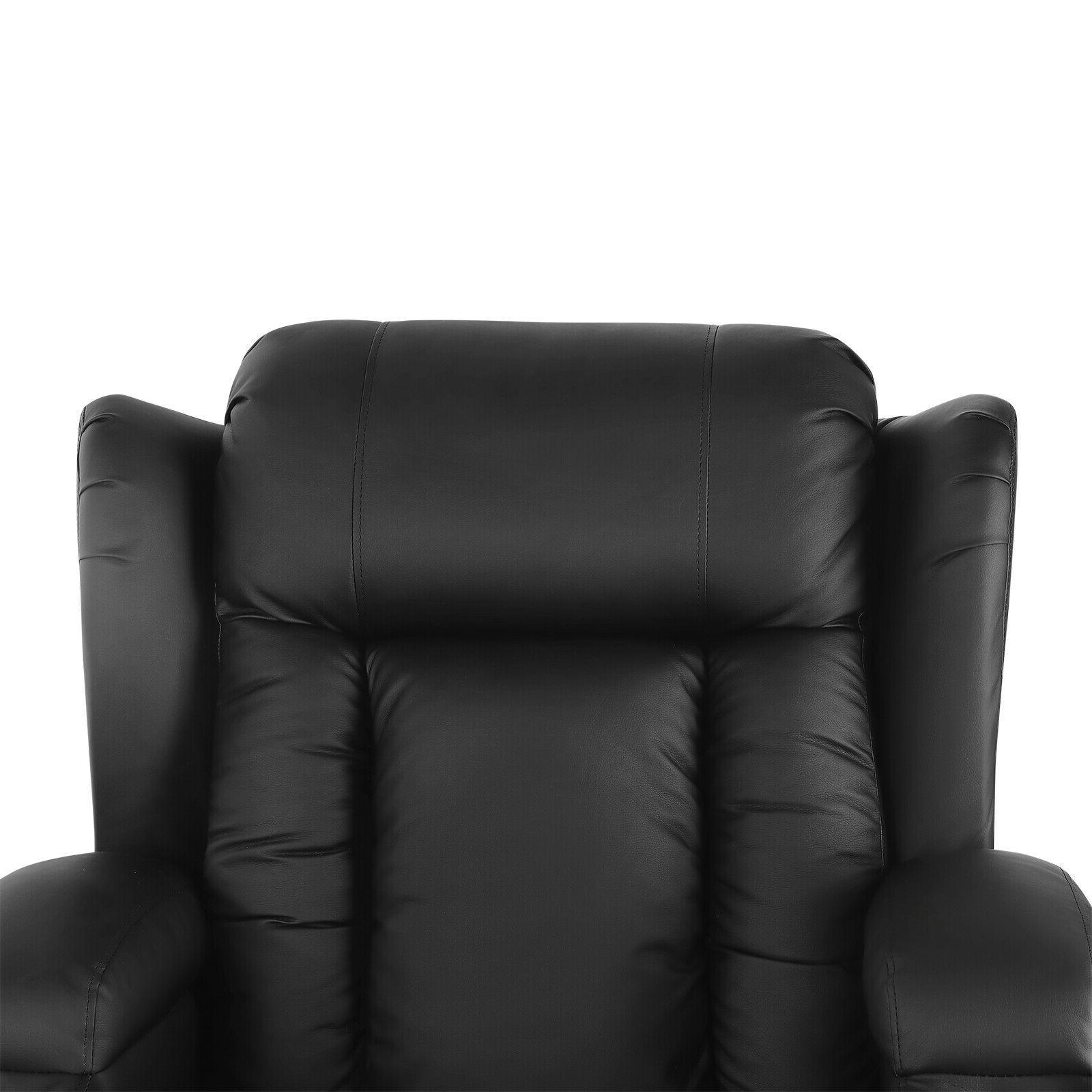 Oversize Leather Massage Recliner 360°Heat Rocking w/Control