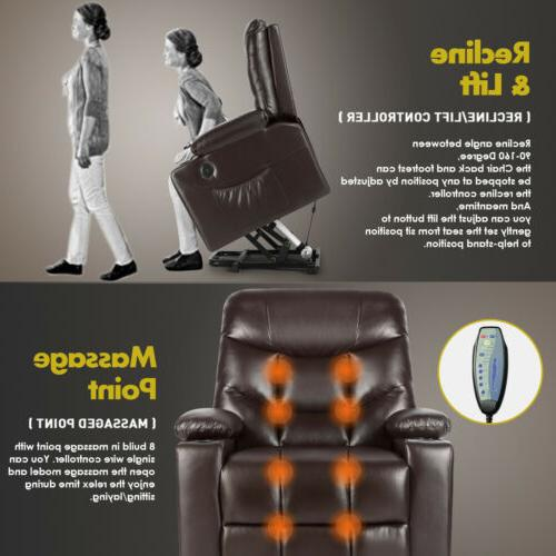 Brown Auto Electric Leather Power Chair Sofa USB
