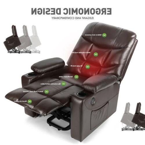 Brown Auto Power Recliner Chair USB