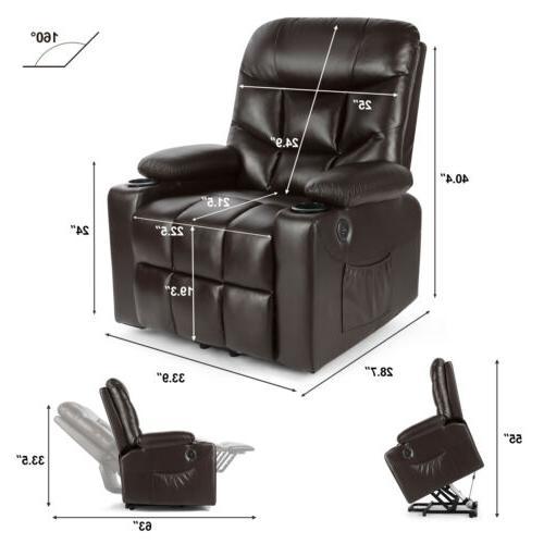 Brown Auto Power Massage Chair Sofa USB