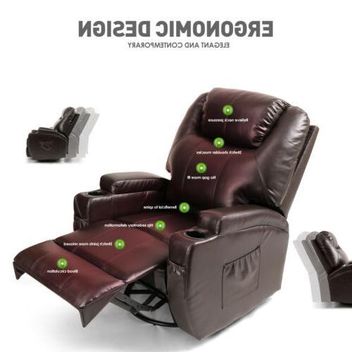 Brown Massage Lounge Leather Vibrate Heat 360°Remote