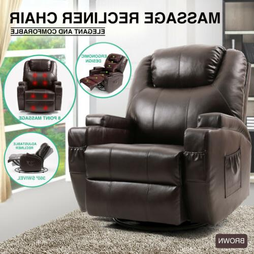 brown massage recliner chair lounge leather sofa