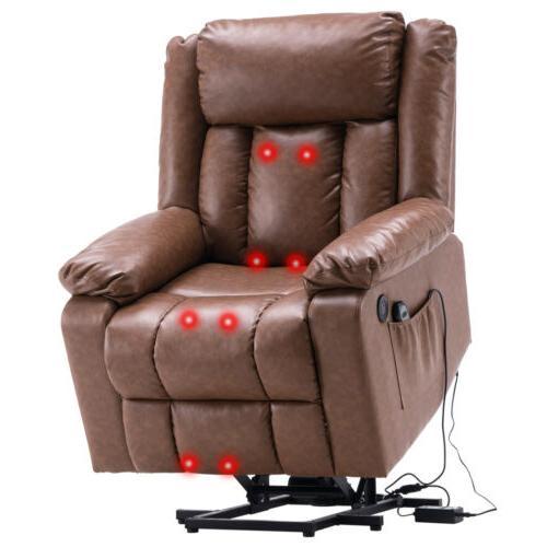 Electric Recliner Sofa Leather Ergonomic w/Remote