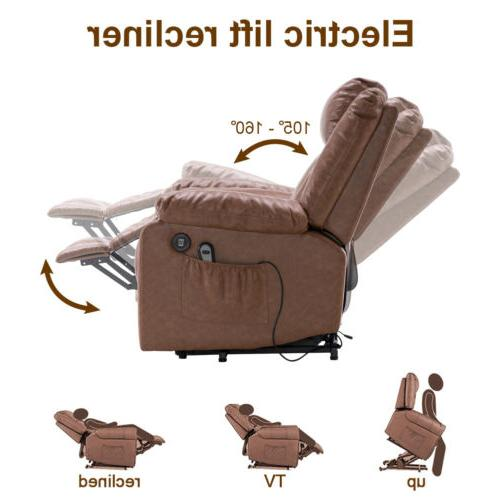 Electric Chair Sofa Leather Vibrating Heated Ergonomic w/Remote