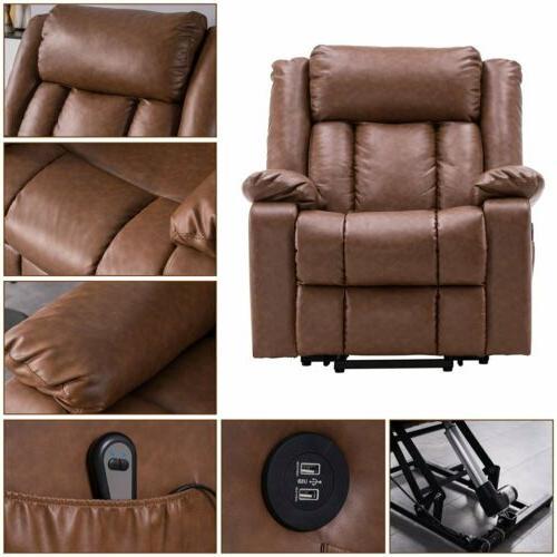 Electric Recliner Sofa Leather Vibrating Ergonomic