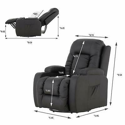 Electric Chair Recliner w/ Cup Holders Side PU Brown