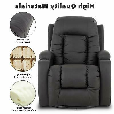 Electric Massage w/ Cup Holders Side PU Brown