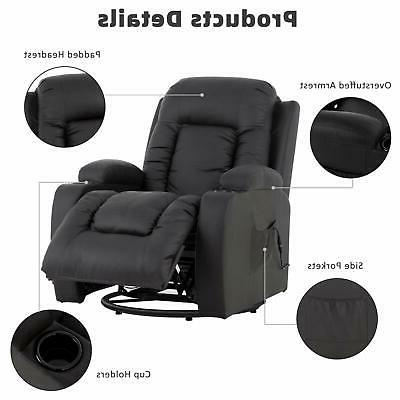 Electric Massage Chair w/ Holders Side PU Leather Brown