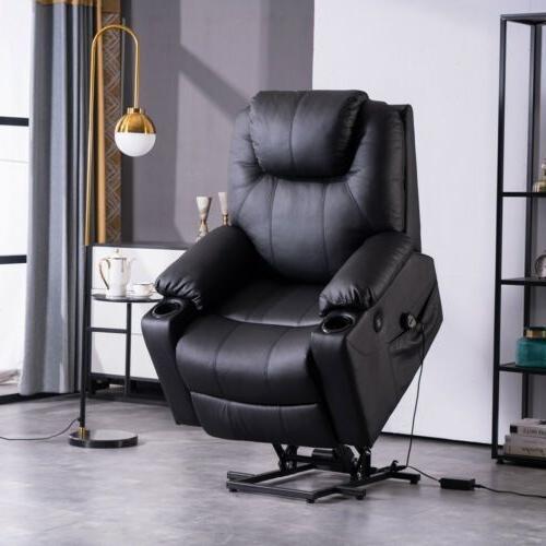 Electric Power Lift Massage Chair Elderly Armchair PU