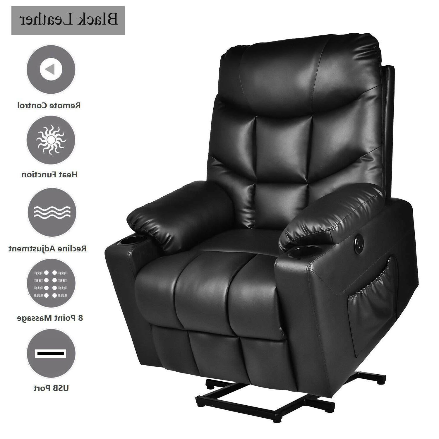 Electric Power Lift Recliner Chair Heated 8 Massage With Remote