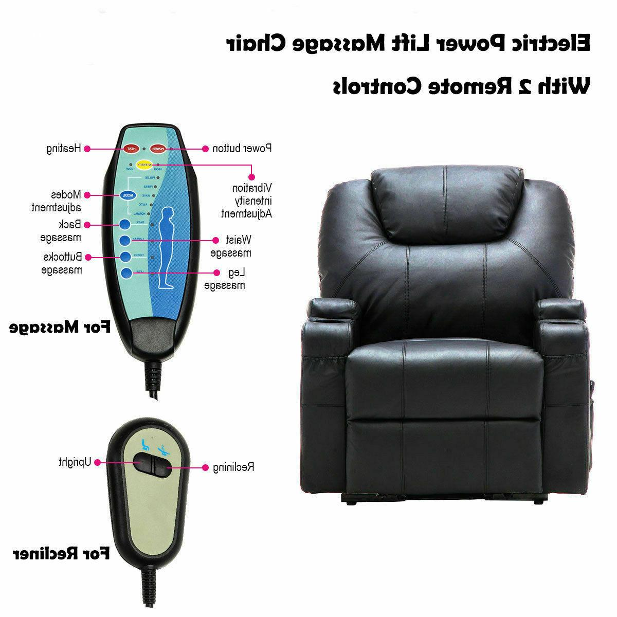 Electric Power Recliner Chair Heated Point Massage Sofa With