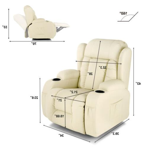 Extra Massage Recliner Vibrate Swivel White