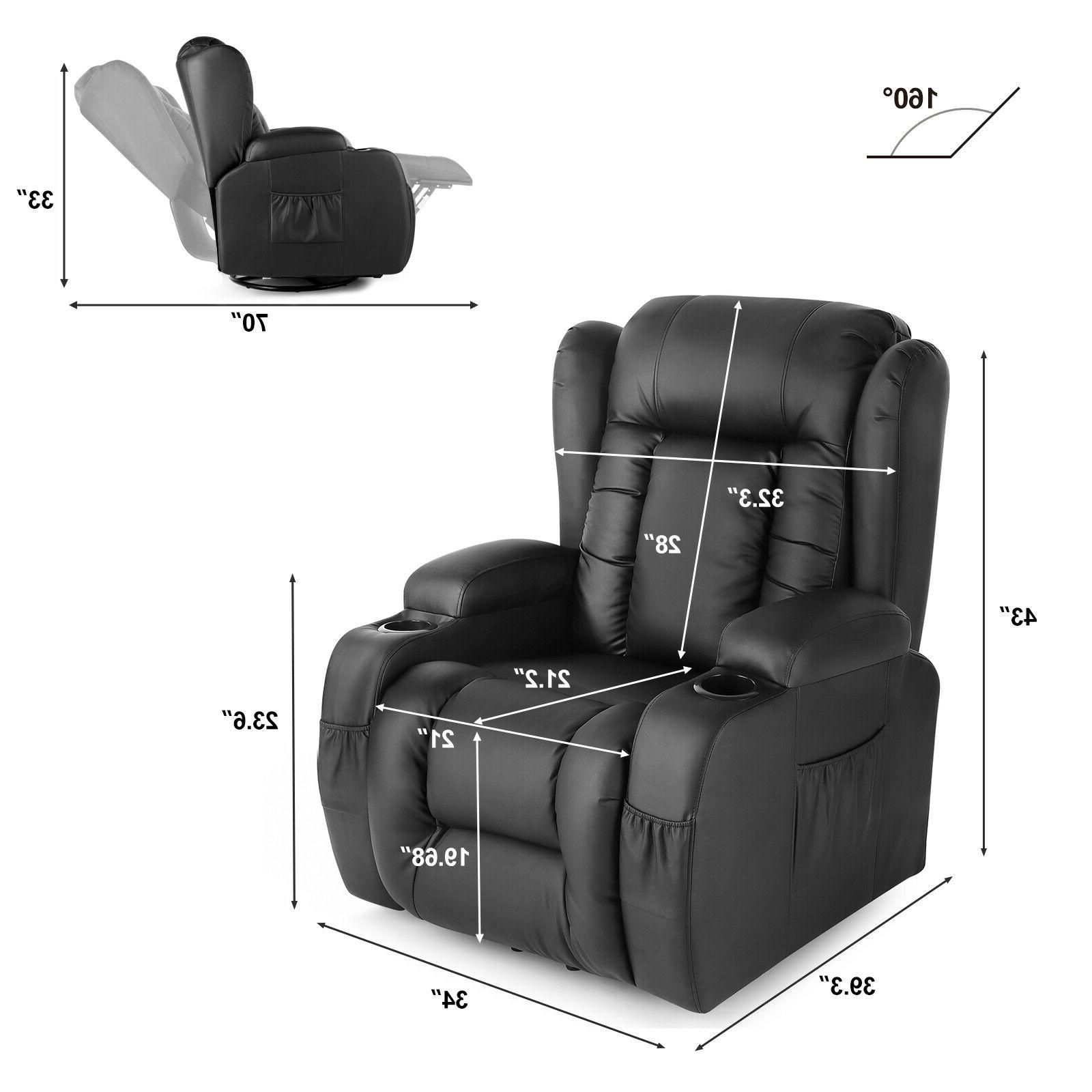 Oversize Leather Chair w/Control Black