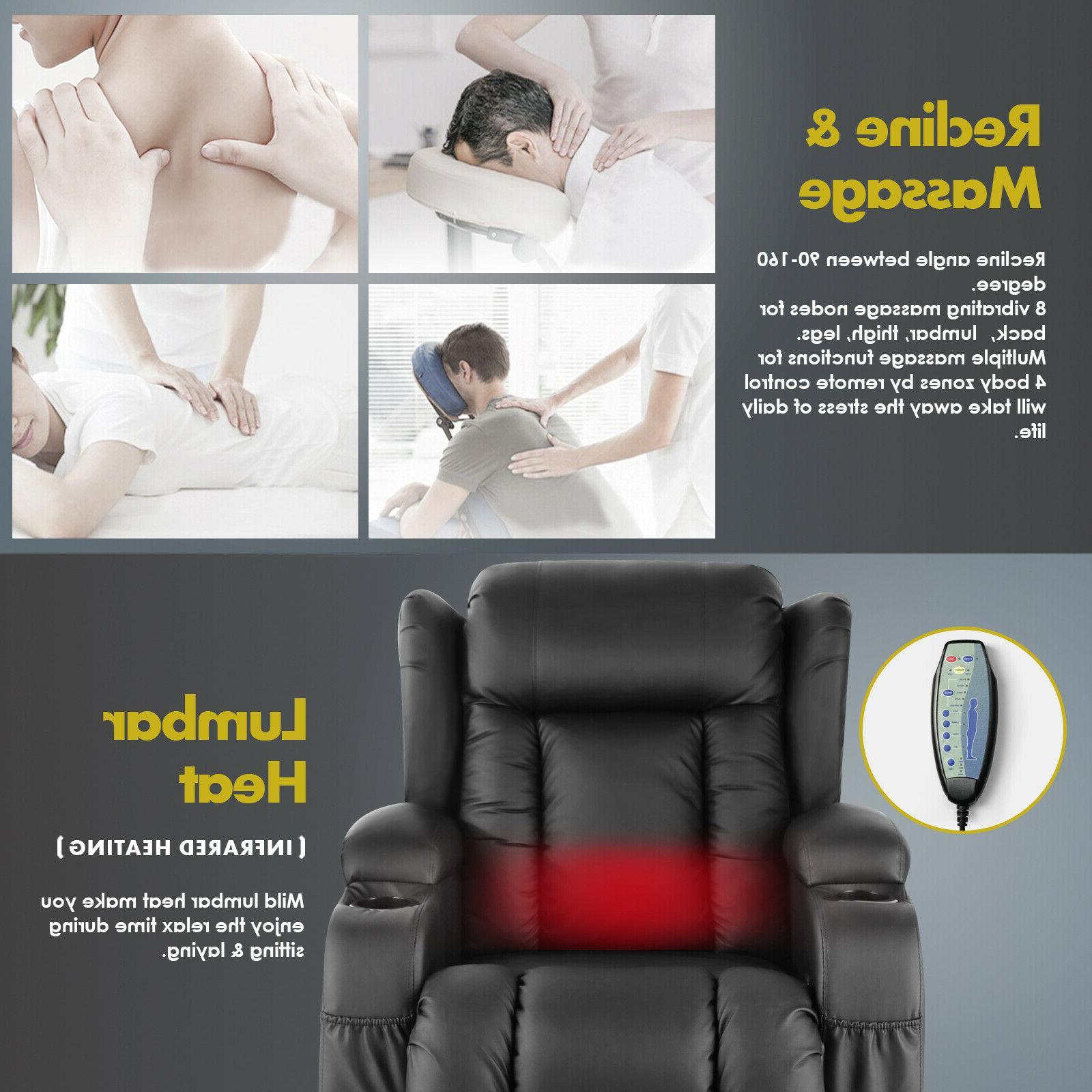 Oversize Massage Recliner Vibrate w/Control