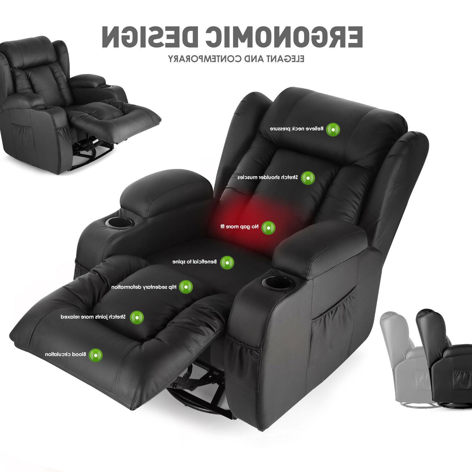 Oversize Leather Recliner 360°Heat Rocking w/Control