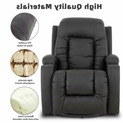 Massage Recliner Seat Leather Cup Holders Pockets Brown