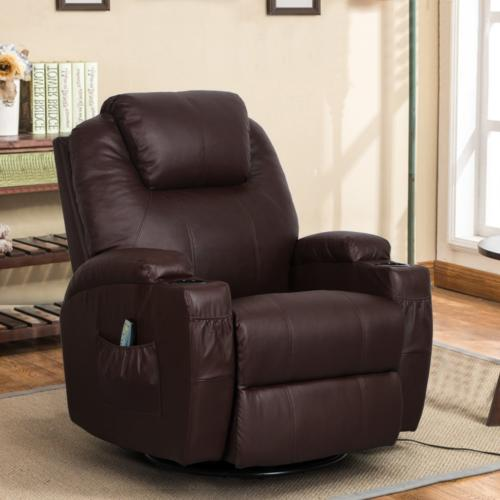 Esright Massage Recliner Chair Heated PU Leather Ergonomic L