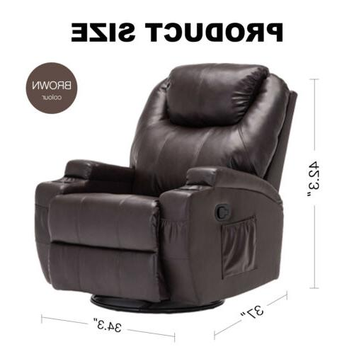 Massage Recliner Sofa Vibrating Chair Headrest Brown