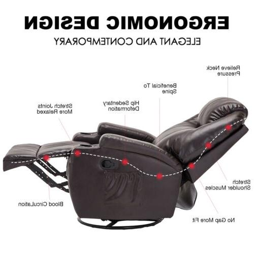 Massage Recliner Sofa Vibrating w/Adjustable Headrest