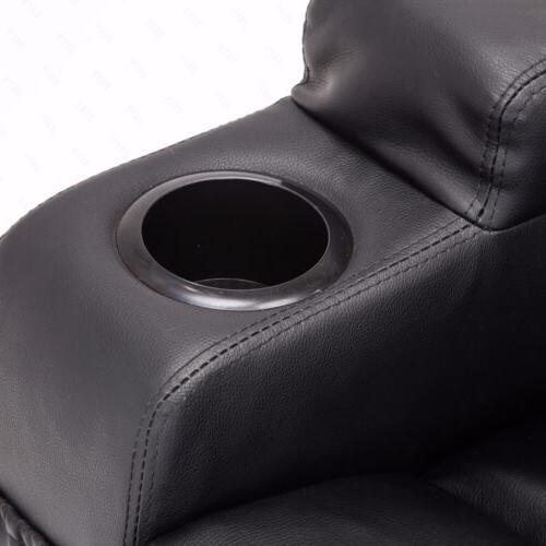 Recliner Sofa Ergonomic Heated with Control Black