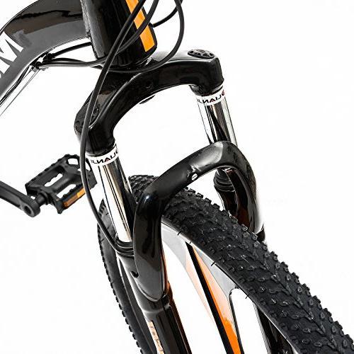 Uenjoy Murtisol Mountain Men's and Women's Speed Lightning 21 Speed Hardtail Hybrid Bicycle Mag Bike, Orange Black