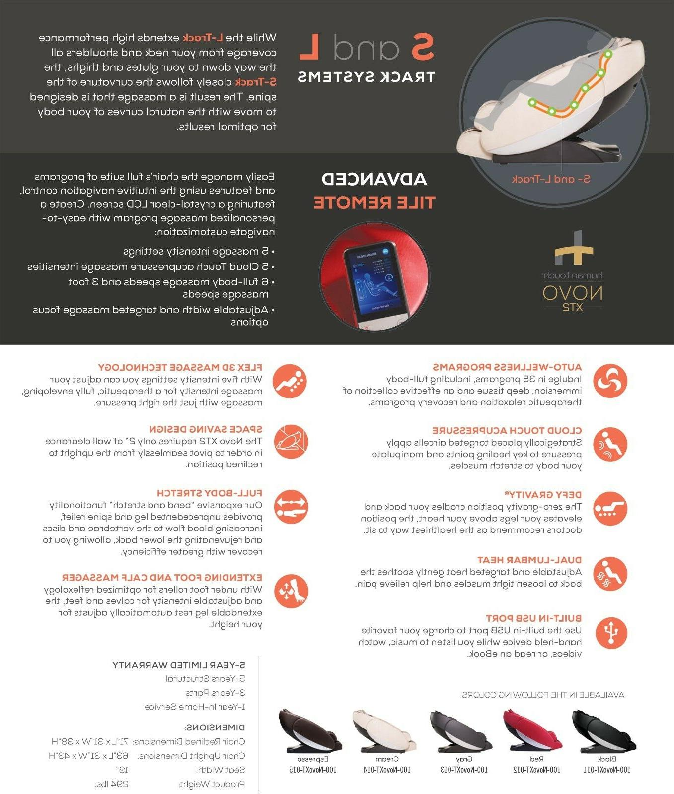 Human Touch Novo Full Zero Space Saver Massage Recliner
