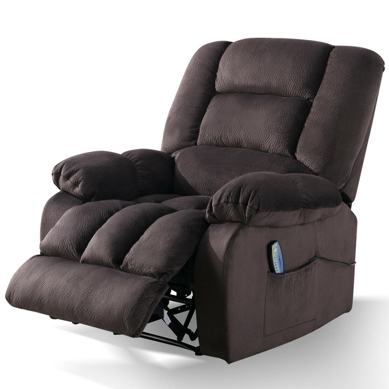 "Fabric Massage Sofa w/Heated Recliner 23""W Padded Cushion"