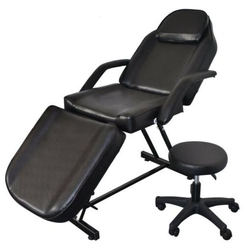 Black Facial Bed Barber Chair & Stool