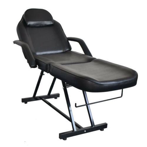 Black Facial Bed Barber Chair Set Spa & Stool