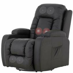 Massage Chair Recliner Sofa Seat PU Leather w/ Cup Holders S