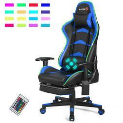 Massage LED Gaming Chair Reclining Racing Chair w/Lumbar Sup