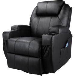 massage recliner chair heated pu leather rocker
