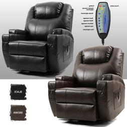 Massage Recliner Chair Leather Vibrating Heat Lounge 360° S