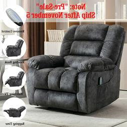Massage Recliner Chair With Heat And Vibration Soft Fabric L