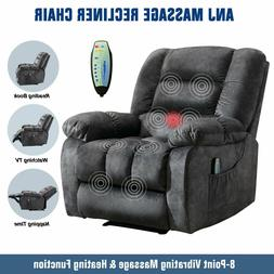 Massage Recliner Chair With Heat & Vibration Overstuffed Sof